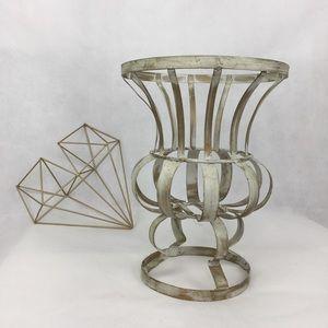 Beautiful White & Gold Metal Basket